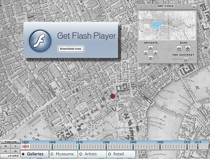 London Gallery Map - Flash Interface